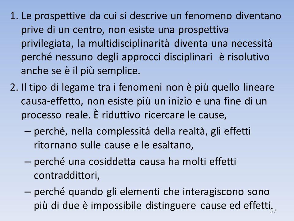 1. Le prospettive da cui si descrive un fenomeno diventano prive di un centro, non esiste una prospettiva privilegiata, la multidisciplinarità diventa