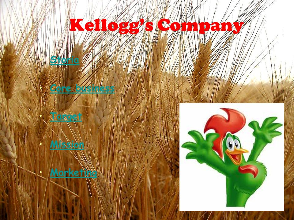 Kelloggs Company Storia Core business Target Mission Marketing