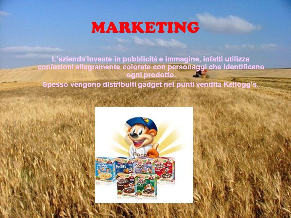 MARKETING Lazienda investe in pubblicità e immagine, infatti utilizza confezioni allegramente colorate con personaggi che identificano ogni prodotto.