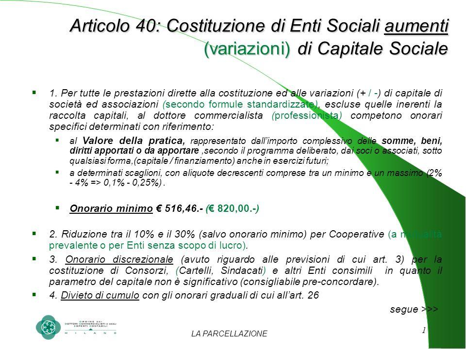 LA PARCELLAZIONE 1 Articolo 40: Costituzione di Enti Sociali aumenti (variazioni) di Capitale Sociale Articolo 40: Costituzione di Enti Sociali aument
