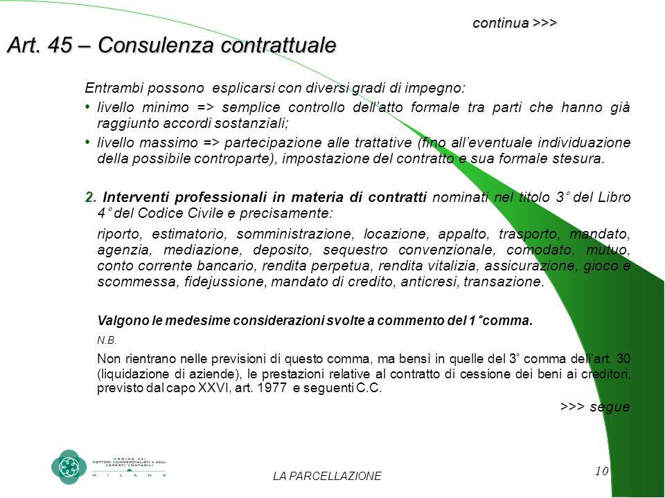 LA PARCELLAZIONE 10 continua >>> Art. 45 – Consulenza contrattuale Entrambi possono esplicarsi con diversi gradi di impegno: livello minimo => semplic