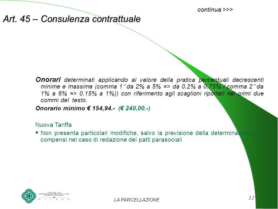 LA PARCELLAZIONE 12 continua >>> Art. 45 – Consulenza contrattuale Onorari determinati applicando al valore della pratica percentuali decrescenti mini
