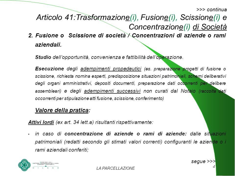 LA PARCELLAZIONE 4 >>> continua >>> continua Articolo 41:Trasformazione(i), Fusione(i), Scissione(i) e Concentrazione(i) di Società 2. Fusione o Sciss