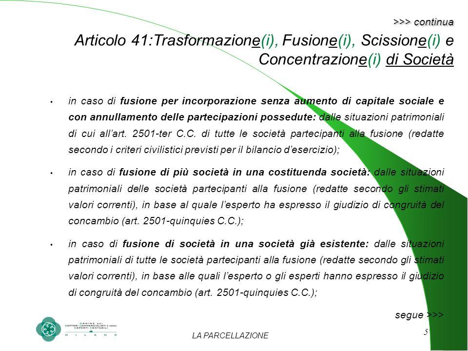 LA PARCELLAZIONE 5 >>> continua >>> continua Articolo 41:Trasformazione(i), Fusione(i), Scissione(i) e Concentrazione(i) di Società in caso di fusione