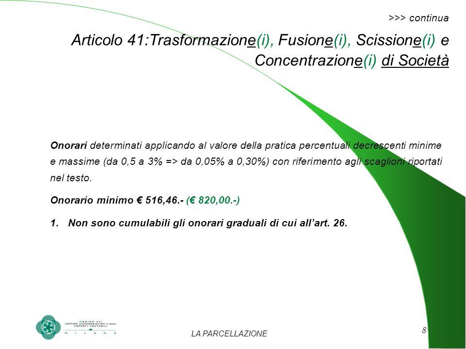 LA PARCELLAZIONE 8 >>> continua Articolo 41:Trasformazione(i), Fusione(i), Scissione(i) e Concentrazione(i) di Società Onorari determinati applicando al valore della pratica percentuali decrescenti minime e massime (da 0,5 a 3% => da 0,05% a 0,30%) con riferimento agli scaglioni riportati nel testo.