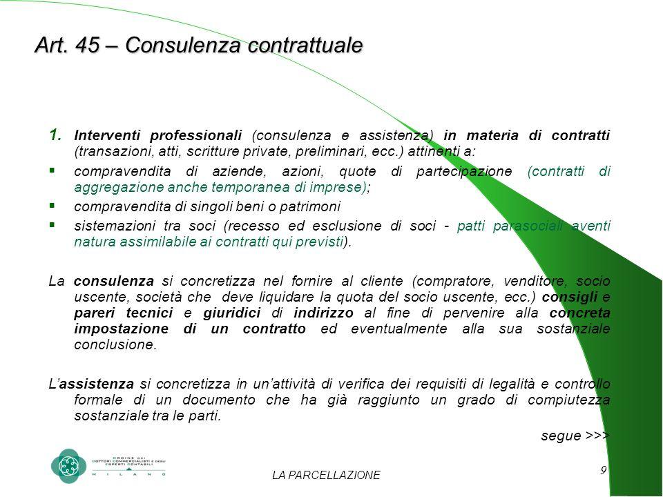 LA PARCELLAZIONE 9 Art. 45 – Consulenza contrattuale 1. Interventi professionali (consulenza e assistenza) in materia di contratti (transazioni, atti,