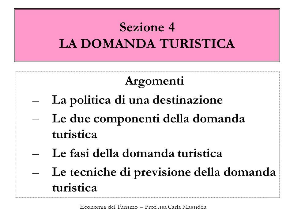 Economia del Turismo – Prof..ssa Carla Massidda Sezione 4 LA DOMANDA TURISTICA Argomenti –La politica di una destinazione –Le due componenti della dom