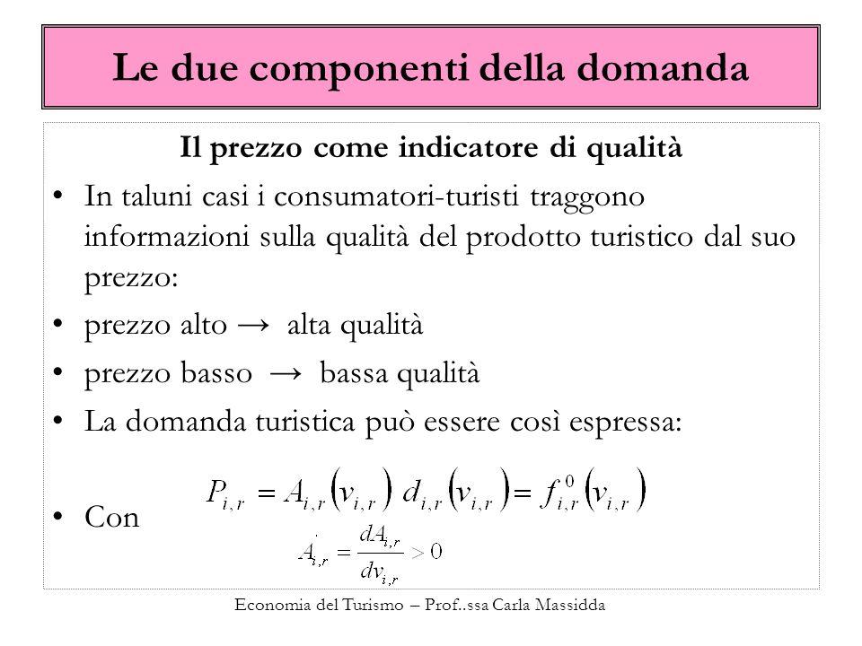 Economia del Turismo – Prof..ssa Carla Massidda Le due componenti della domanda Il prezzo come indicatore di qualità In taluni casi i consumatori-turi
