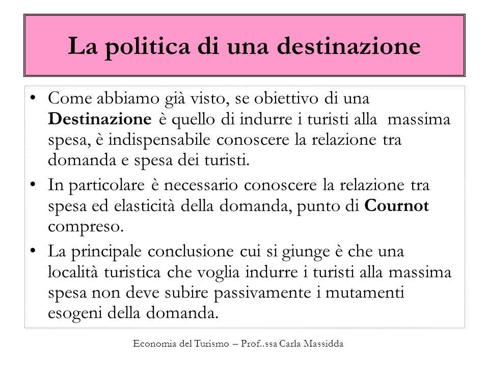 Economia del Turismo – Prof..ssa Carla Massidda La politica di una destinazione Come abbiamo già visto, se obiettivo di una Destinazione è quello di i