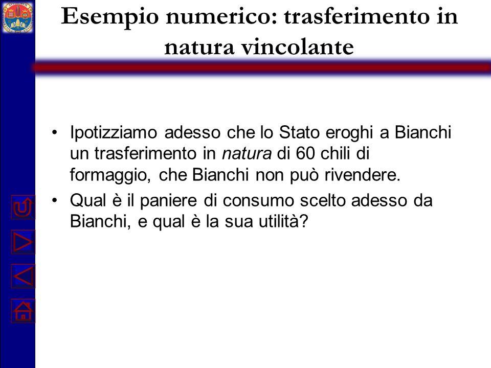 Esempio numerico: trasferimento in natura vincolante Ipotizziamo adesso che lo Stato eroghi a Bianchi un trasferimento in natura di 60 chili di formag