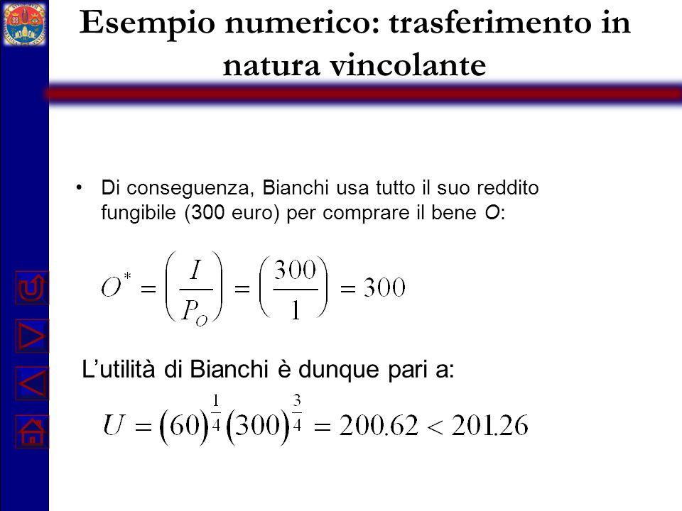 Esempio numerico: trasferimento in natura vincolante Di conseguenza, Bianchi usa tutto il suo reddito fungibile (300 euro) per comprare il bene O: Lut