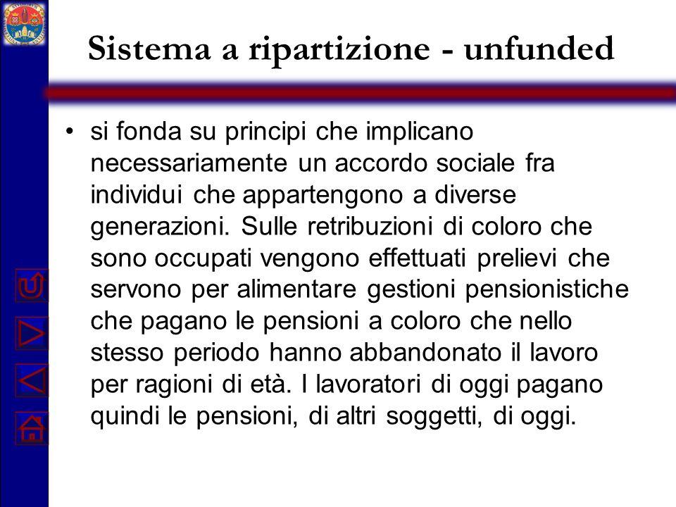 Sistema a ripartizione - unfunded si fonda su principi che implicano necessariamente un accordo sociale fra individui che appartengono a diverse gener