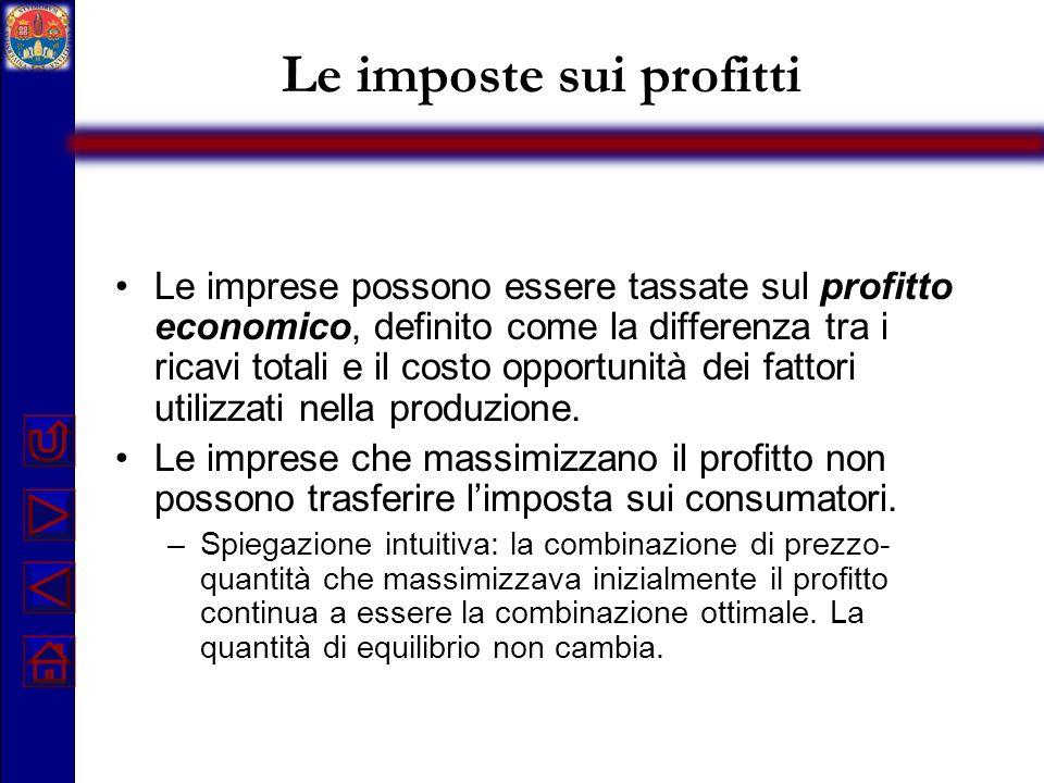 Le imposte sui profitti Le imprese possono essere tassate sul profitto economico, definito come la differenza tra i ricavi totali e il costo opportuni