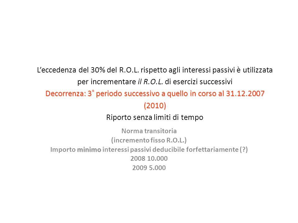 Decorrenza: 3° periodo successivo a quello in corso al 31.12.2007 (2010) Leccedenza del 30% del R.O.L.