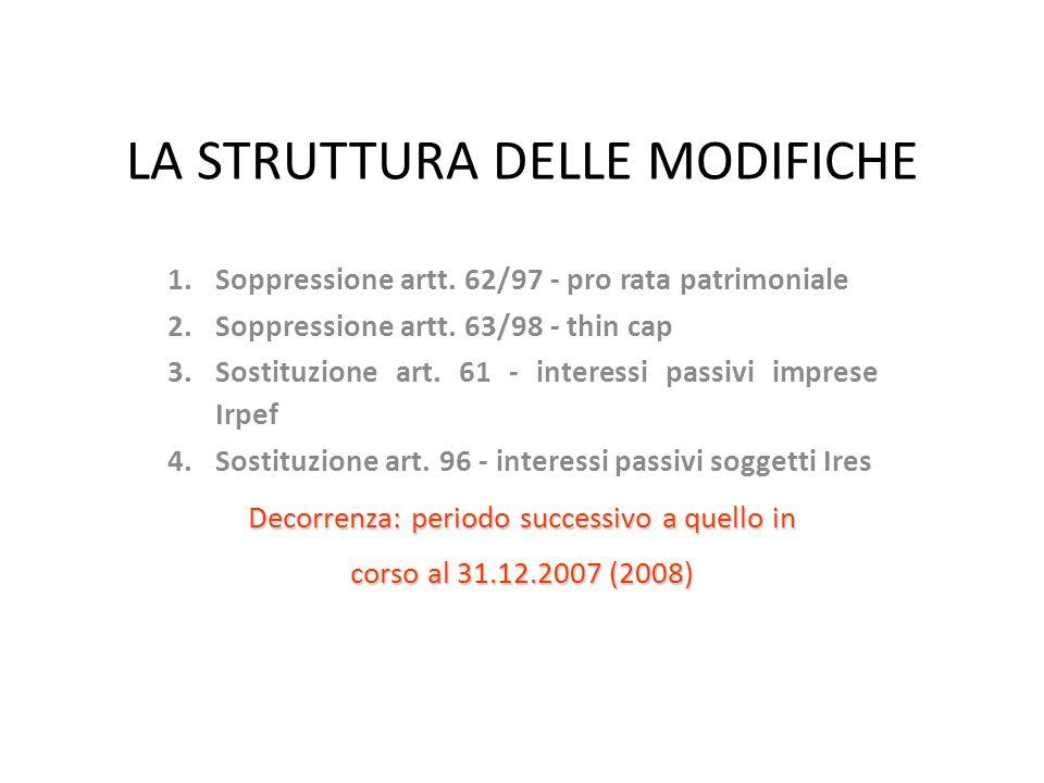 LA STRUTTURA DELLE MODIFICHE 1.Soppressione artt.