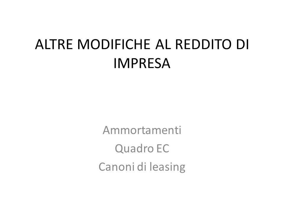 ALTRE MODIFICHE AL REDDITO DI IMPRESA Ammortamenti Quadro EC Canoni di leasing