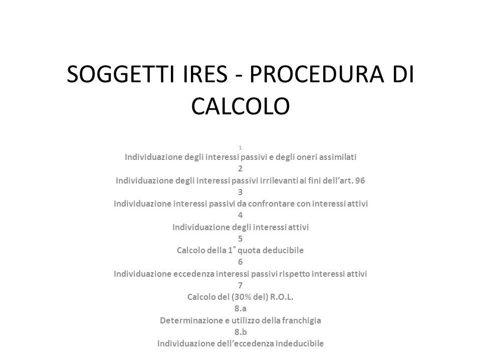 SOGGETTI IRES - PROCEDURA DI CALCOLO 1 Individuazione degli interessi passivi e degli oneri assimilati 2 Individuazione degli interessi passivi irrilevanti ai fini dellart.