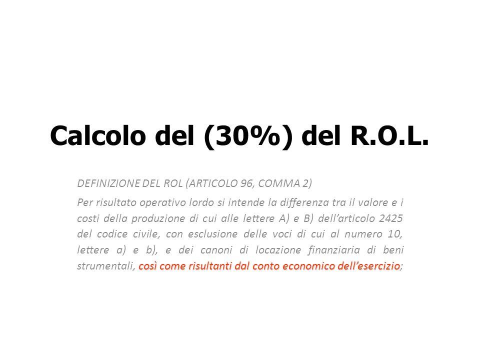 Calcolo del (30%) del R.O.L.