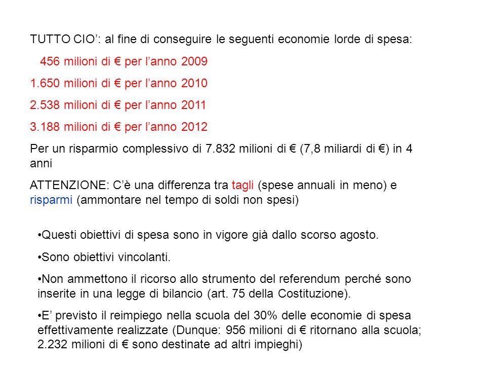 TUTTO CIO: al fine di conseguire le seguenti economie lorde di spesa: 456 milioni di per lanno 2009 1.650 milioni di per lanno 2010 2.538 milioni di per lanno 2011 3.188 milioni di per lanno 2012 Per un risparmio complessivo di 7.832 milioni di (7,8 miliardi di ) in 4 anni ATTENZIONE: Cè una differenza tra tagli (spese annuali in meno) e risparmi (ammontare nel tempo di soldi non spesi) Questi obiettivi di spesa sono in vigore già dallo scorso agosto.