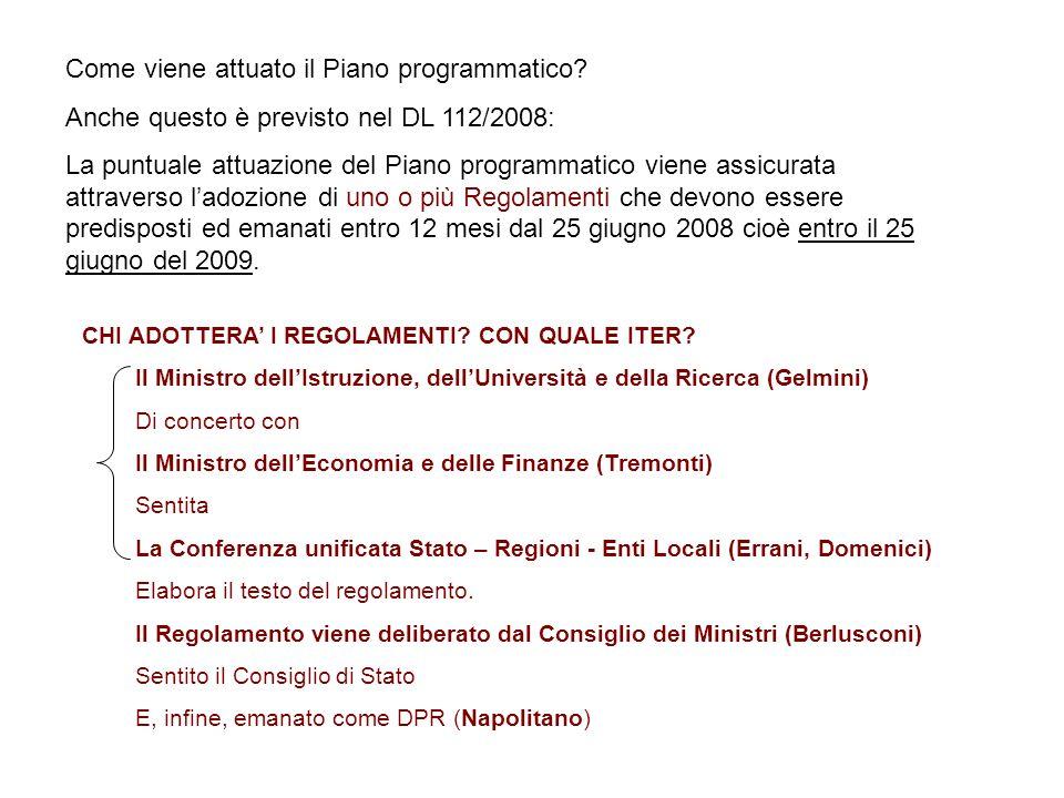 Come viene attuato il Piano programmatico? Anche questo è previsto nel DL 112/2008: La puntuale attuazione del Piano programmatico viene assicurata at