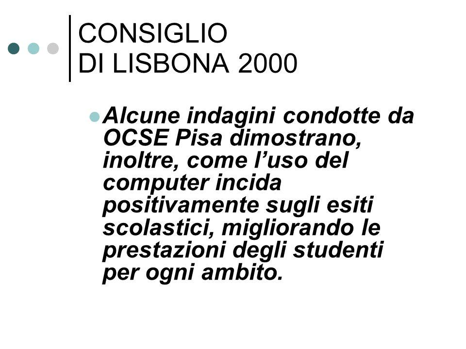 Alcune indagini condotte da OCSE Pisa dimostrano, inoltre, come luso del computer incida positivamente sugli esiti scolastici, migliorando le prestazioni degli studenti per ogni ambito.