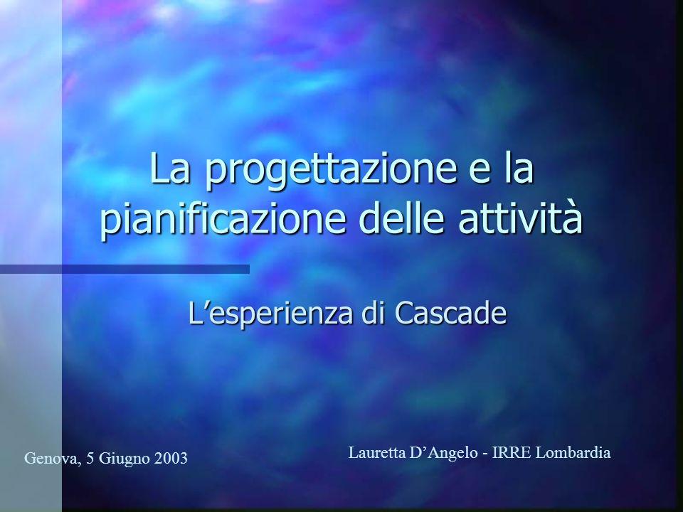 La progettazione e la pianificazione delle attività Lesperienza di Cascade Genova, 5 Giugno 2003 Lauretta DAngelo - IRRE Lombardia