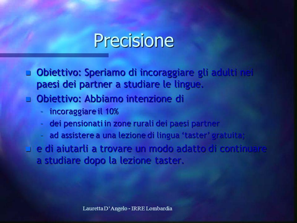 Lauretta DAngelo - IRRE Lombardia Precisione n Obiettivo: Speriamo di incoraggiare gli adulti nei paesi dei partner a studiare le lingue. n Obiettivo: