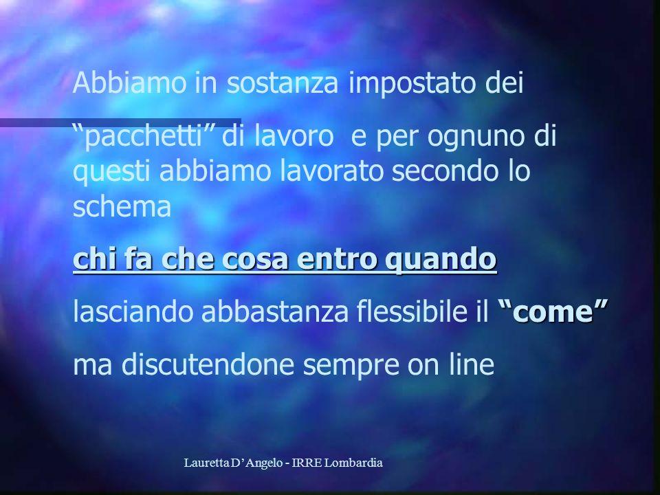 Lauretta DAngelo - IRRE Lombardia Abbiamo in sostanza impostato dei pacchetti di lavoro e per ognuno di questi abbiamo lavorato secondo lo schema chi