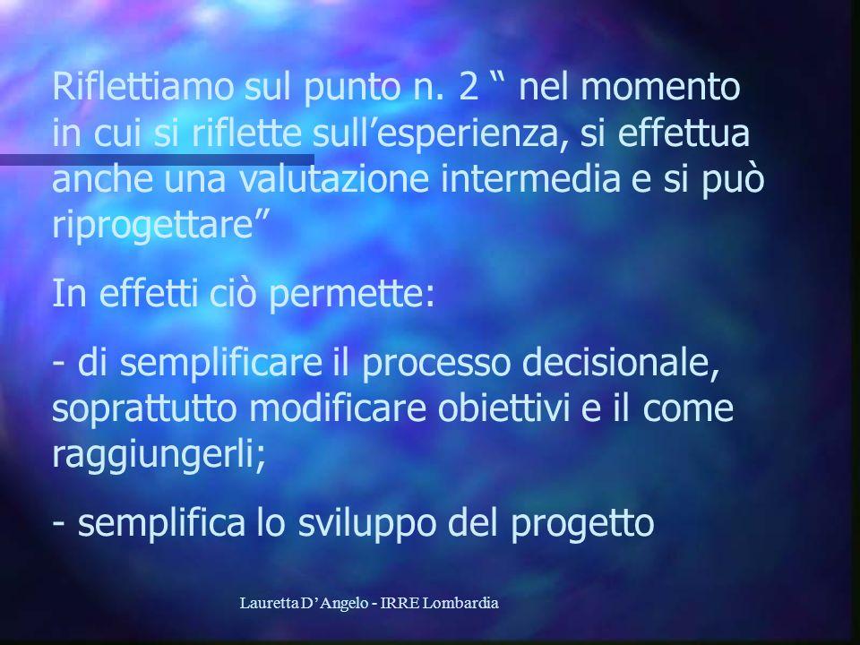 Lauretta DAngelo - IRRE Lombardia Riflettiamo sul punto n. 2 nel momento in cui si riflette sullesperienza, si effettua anche una valutazione intermed