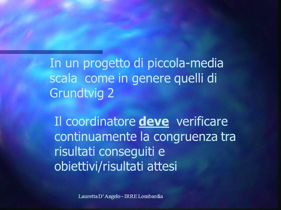 Lauretta DAngelo - IRRE Lombardia In un progetto di piccola-media scala come in genere quelli di Grundtvig 2 Il coordinatore deve verificare continuam