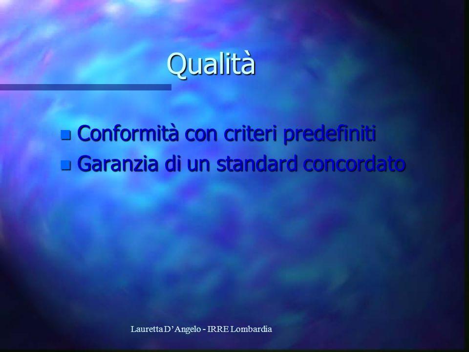 Lauretta DAngelo - IRRE Lombardia Qualità n Conformità con criteri predefiniti n Garanzia di un standard concordato