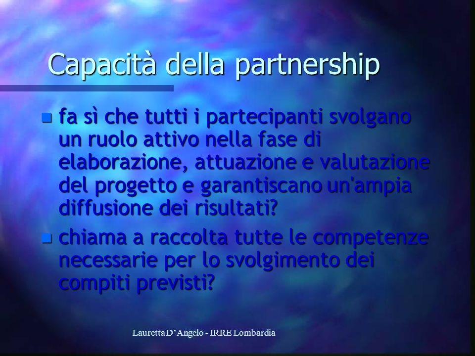 Lauretta DAngelo - IRRE Lombardia Capacità della partnership n fa sì che tutti i partecipanti svolgano un ruolo attivo nella fase di elaborazione, att