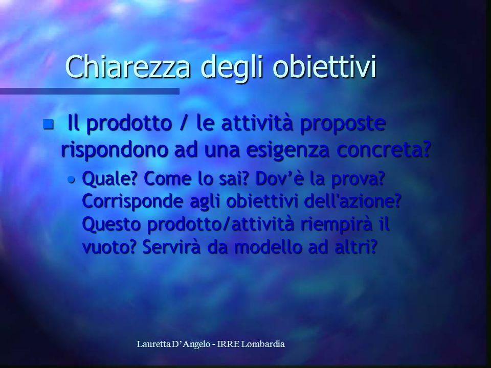 Lauretta DAngelo - IRRE Lombardia Chiarezza degli obiettivi n Il prodotto / le attività proposte rispondono ad una esigenza concreta? Quale? Come lo s