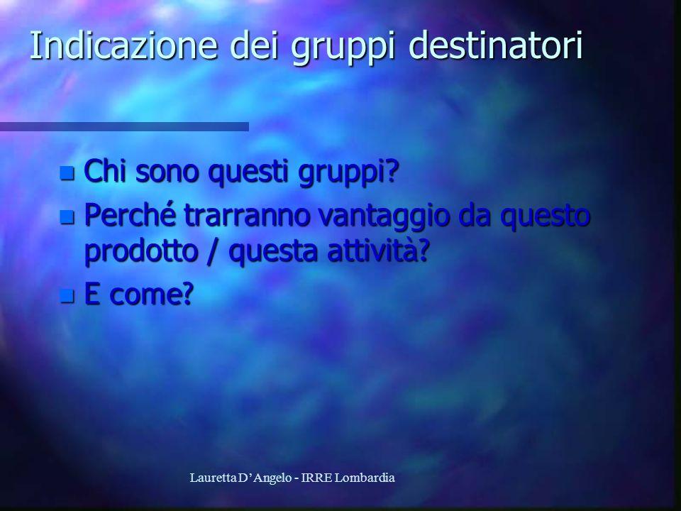 Lauretta DAngelo - IRRE Lombardia Indicazione dei gruppi destinatori n Chi sono questi gruppi? Perché trarranno vantaggio da questo prodotto / questa