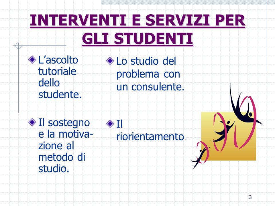 3 Lascolto tutoriale dello studente. Il sostegno e la motiva- zione al metodo di studio. Lo studio del problema con un consulente. Il riorientamento.