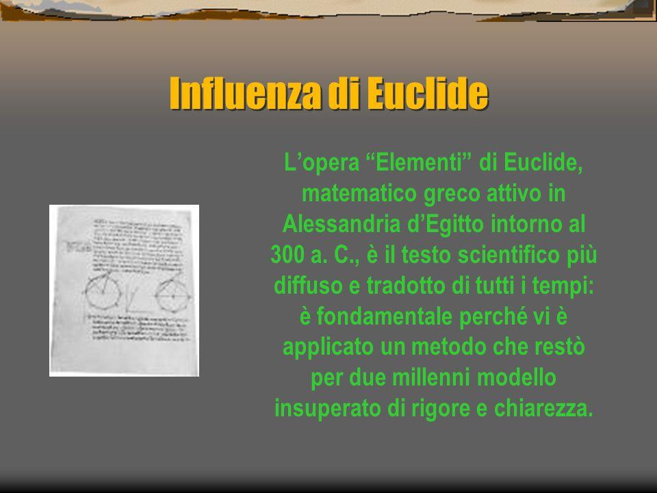Influenza di Euclide Lopera Elementi di Euclide, matematico greco attivo in Alessandria dEgitto intorno al 300 a. C., è il testo scientifico più diffu