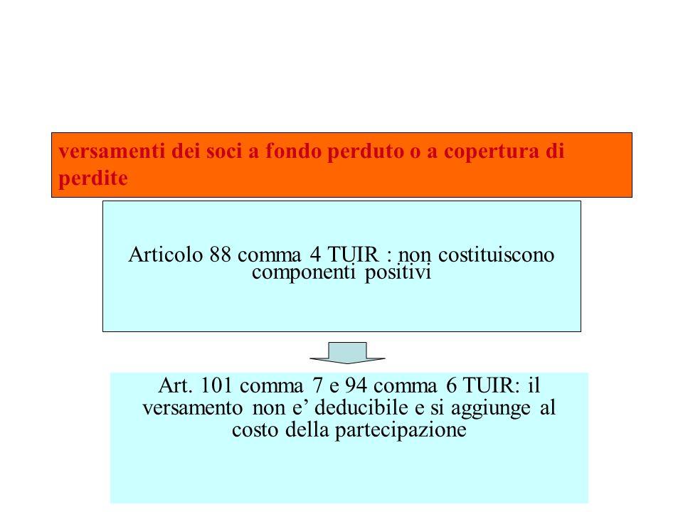 versamenti dei soci a fondo perduto o a copertura di perdite Articolo 88 comma 4 TUIR : non costituiscono componenti positivi Art. 101 comma 7 e 94 co