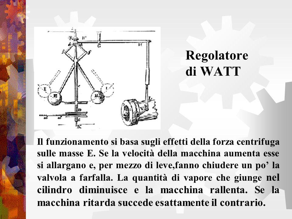 Regolatore di WATT Il funzionamento si basa sugli effetti della forza centrifuga sulle masse E. Se la velocità della macchina aumenta esse si allargan