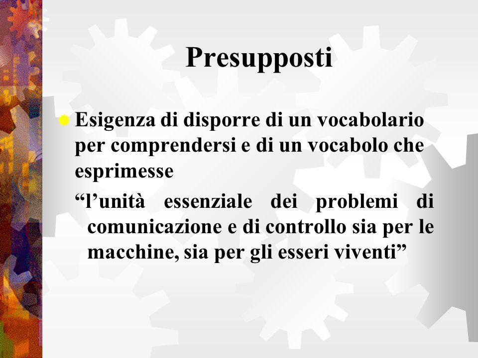 Presupposti Esigenza di disporre di un vocabolario per comprendersi e di un vocabolo che esprimesse lunità essenziale dei problemi di comunicazione e