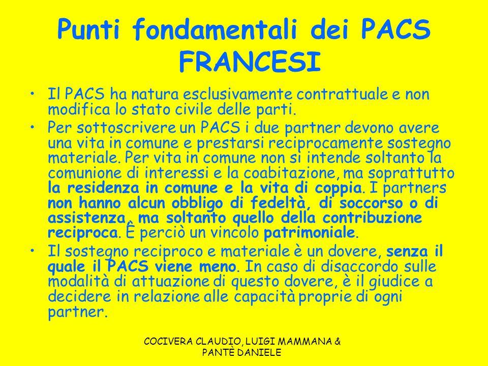COCIVERA CLAUDIO, LUIGI MAMMANA & PANTÈ DANIELE Punti fondamentali dei PACS FRANCESI Il PACS ha natura esclusivamente contrattuale e non modifica lo s