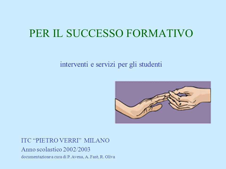 PER IL SUCCESSO FORMATIVO interventi e servizi per gli studenti ITC PIETRO VERRI MILANO Anno scolastico 2002/2003 documentazione a cura di P.