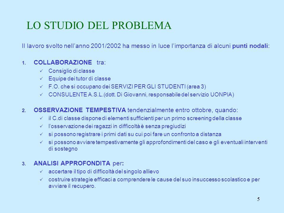 5 LO STUDIO DEL PROBLEMA Il lavoro svolto nellanno 2001/2002 ha messo in luce limportanza di alcuni punti nodali: 1.