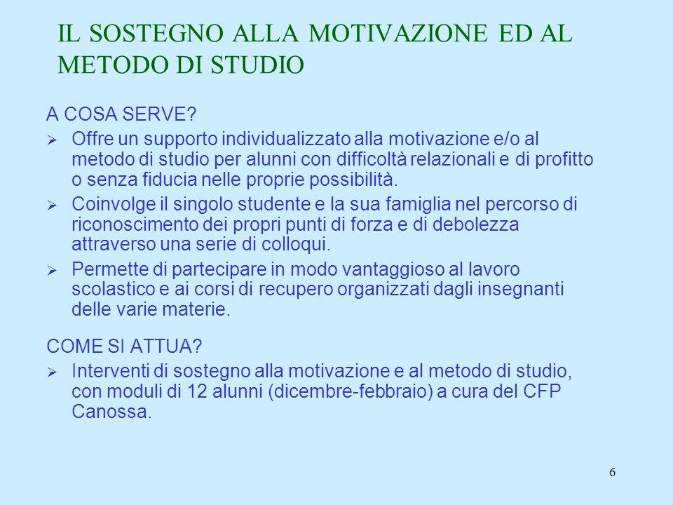 6 IL SOSTEGNO ALLA MOTIVAZIONE ED AL METODO DI STUDIO A COSA SERVE.