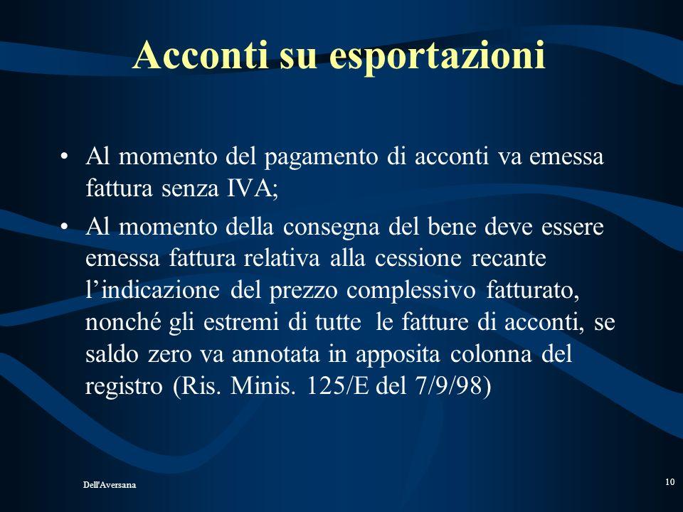 Dell'Aversana 9 Cessioni allesportazione dirette Requisiti congiunti: Il trasferimento della proprietà ( no temporanee) ; La materiale uscita dei beni