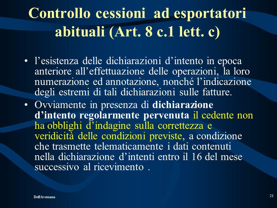 Dell'Aversana 20 Forniture ad esportatoriA residente residente AB IVA non imponibile art. 8, comma 1 lett. c Bollo euro 1,81 se limporto è superiore a