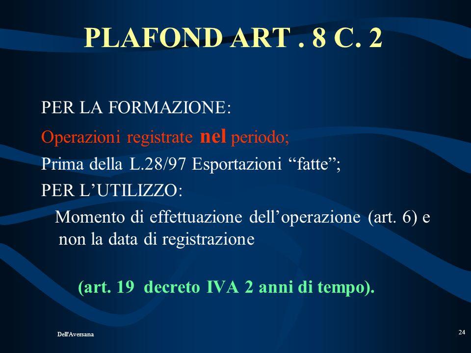 Dell'Aversana 23 UTILIZZO PLAFOND Per quanto concerne gli eventuali acquisti effettuati in sospensione dimposta ai sensi dellart. 8 1° comma lett. c e