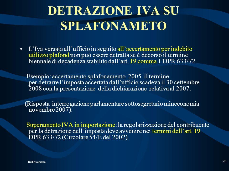 Dell'Aversana 27 DICHIARAZIONE DINTENTO RETTIFICA IN DIMINUZIONE Circolare n. 41/E del 26.9.05 Se, nel corso del tempo, lesportatore abituale intende