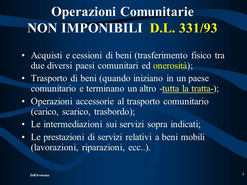 Dell'Aversana 2 OPERAZIONI NON IMPONIBILI DPR 633/72 ART. 8 - Cessioni allesportazioni ART. 8 BIS – Operaz. Assimil. allesport. ART. 9 - Serv. Intern.