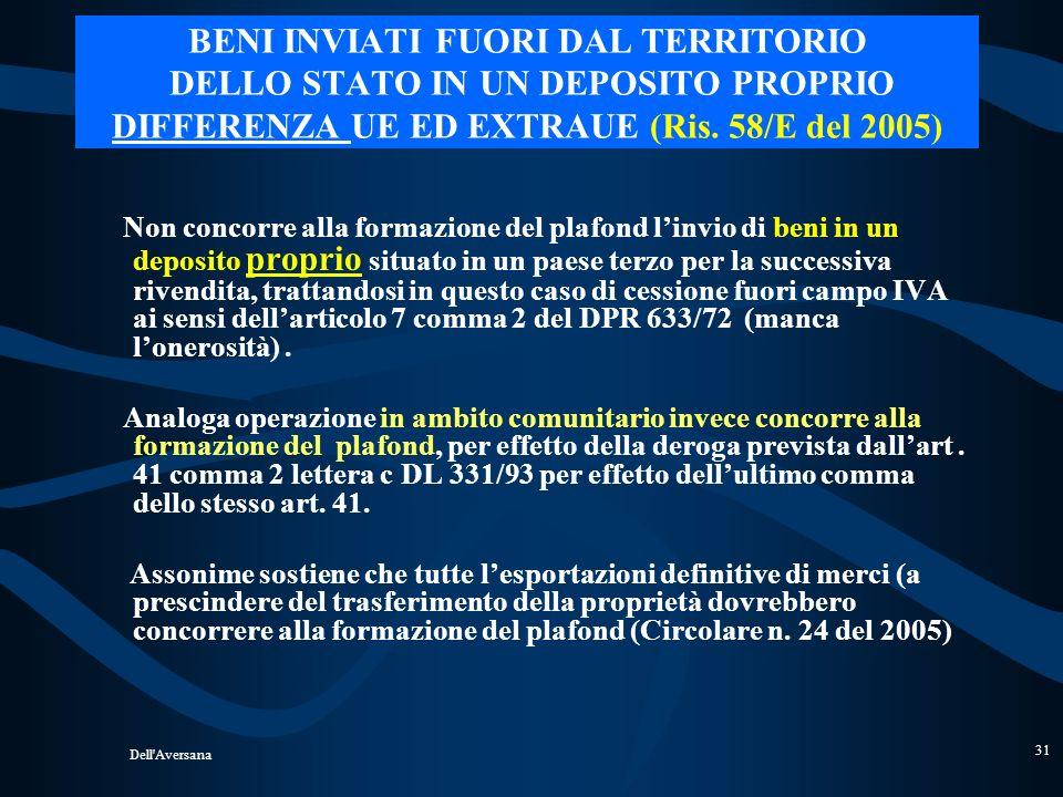 Dell'Aversana 30 Consignment stock in ambito extra UE: (Ris. n. 58 del 5/5/2005) - ADEMPIMENTI - - L ista valorizzata, redatta su carta intestata dell
