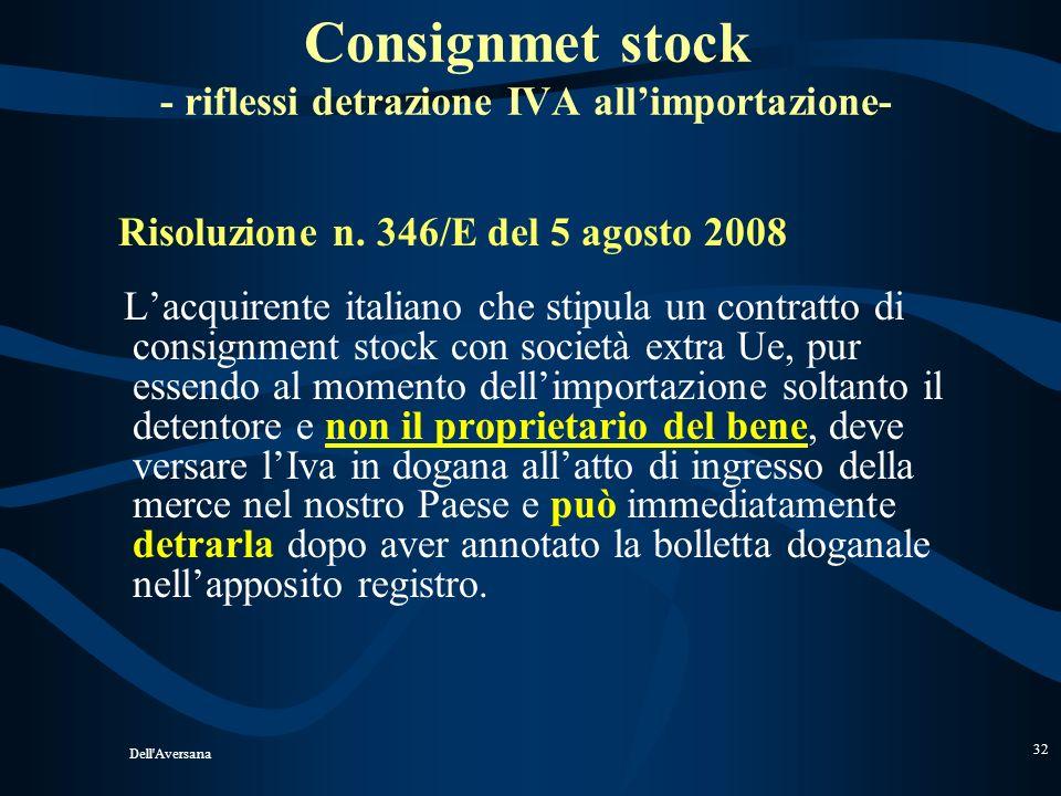 Dell'Aversana 31 BENI INVIATI FUORI DAL TERRITORIO DELLO STATO IN UN DEPOSITO PROPRIO DIFFERENZA UE ED EXTRAUE (Ris. 58/E del 2005) Non concorre alla